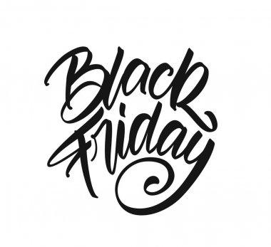 Vector illustration: Handwritten calligraphic type lettering of Black Friday on white background.