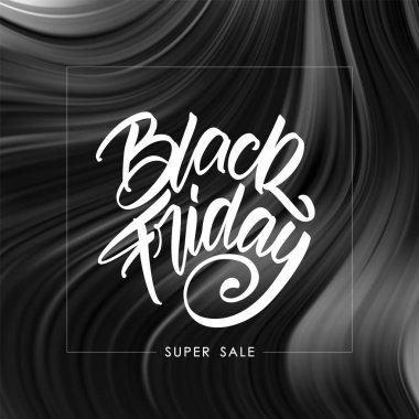 Vector illustration: Handwritten calligraphic type lettering of Black Friday on dark abstract liquid background.