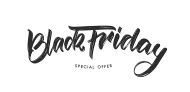 Vector illustration: Handwritten modern brush type calligraphic lettering of Black Friday on white background.