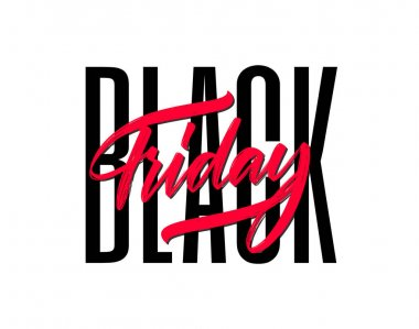 Vector illustration: Typography composition with lettering of Black Friday on white background.
