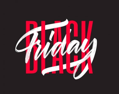 Vector illustration: Typography composition with hand lettering of Black Friday on dark background.