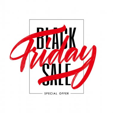 Typography composition with hand lettering of Black Friday in frame on white background. Special offer