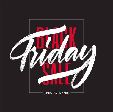 Typography composition with hand lettering of Black Friday in frame on dark background. Special offer.