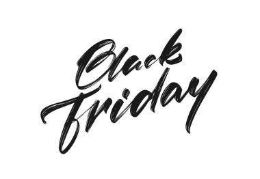 Handwritten calligraphic brush type lettering of Black Friday on white background