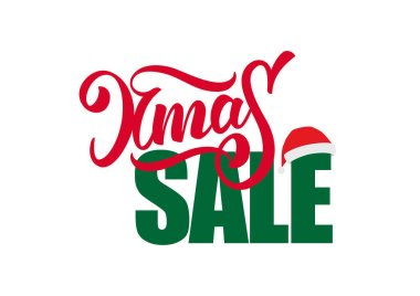 Vector illustration: Hand drawn composition lettering of Xmas Sale with Santa Claus hat isolated on white background