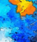 Strisce colorate astratte. Illustrazione della progettazione digitale pittura Impressionismo. Reticolo artistico disegnato a mano. Arte moderna. Buono per le foto stampate, cartoline, poster o sfondi e stampa tessile