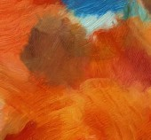 Fotografia Spruzzi di vernice sulla tela. Tratti di pennello morbido caotico. Olio su tela astratto. Struttura disegnata a mano. Moderno stile multicolore opera darte. Opera darte grafica