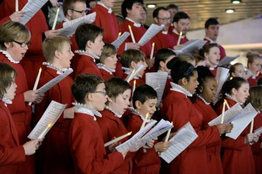 Bristol, UK - November 7, 2014: Bristol Cathedral Choir perform in Cabot Circus shopping mall