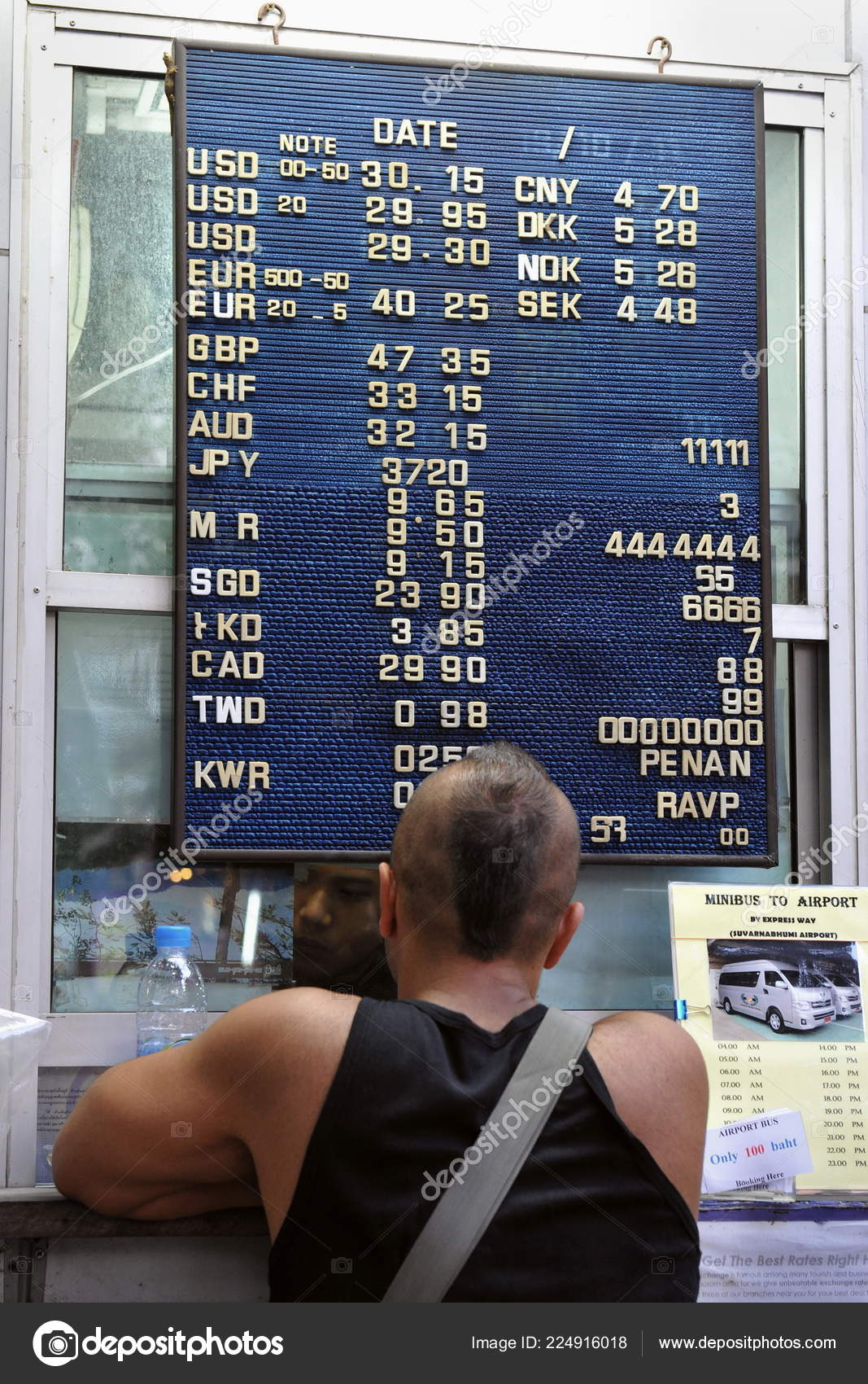 Bangkok Feb Tourist Changes Money Street Side Currency Exchange