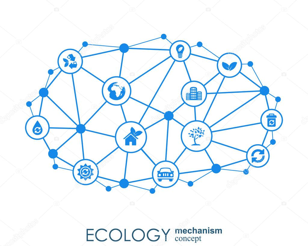 Ecology mechanism concept. Abstract background with connected gears and icons for eco friendly, energy, environment, green, recycle, bio and global concepts. Vector infographic illustration.