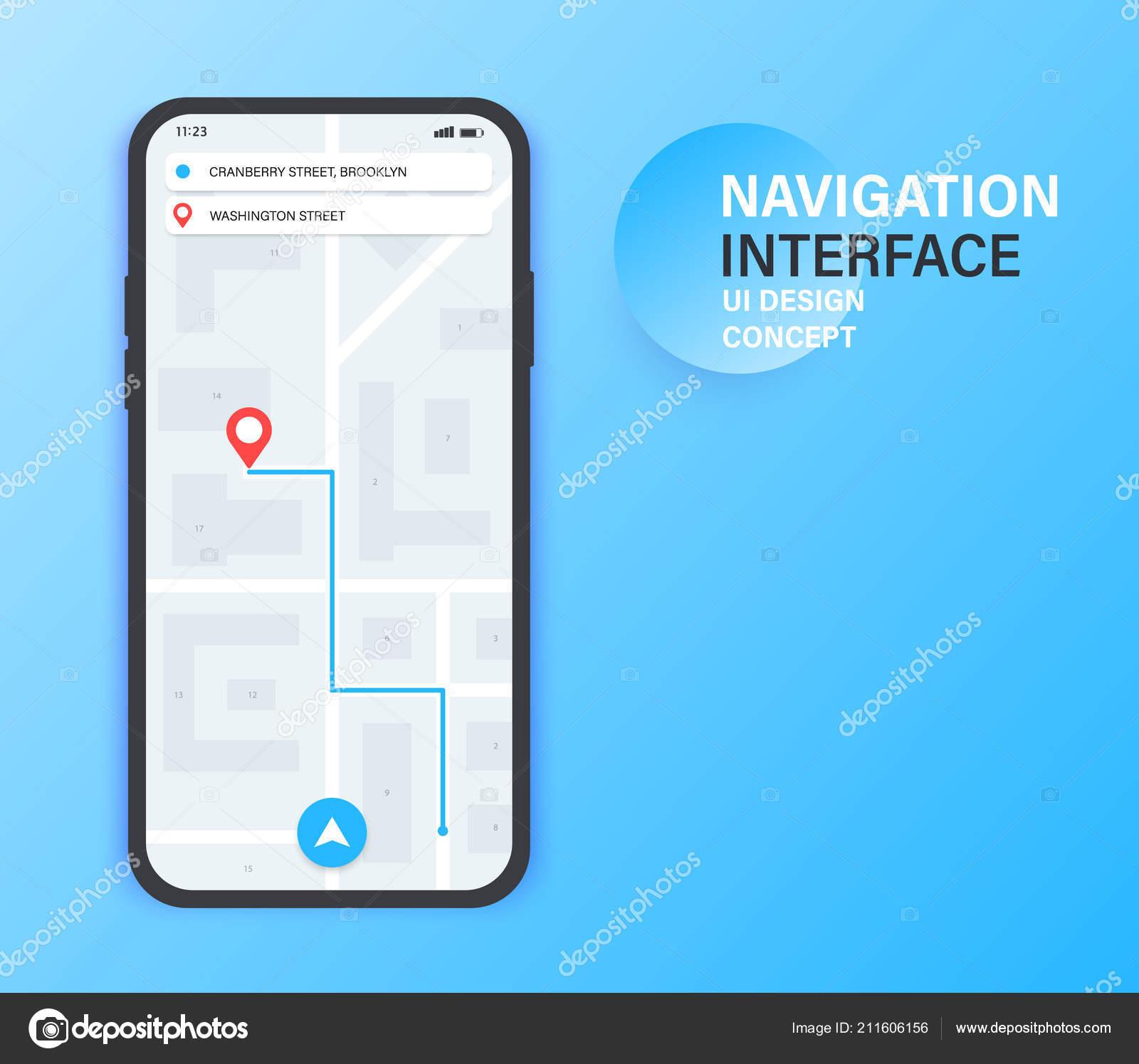 GPS-Navigations-app auf dem Handy. City-Map-Navigation. Mobile app on