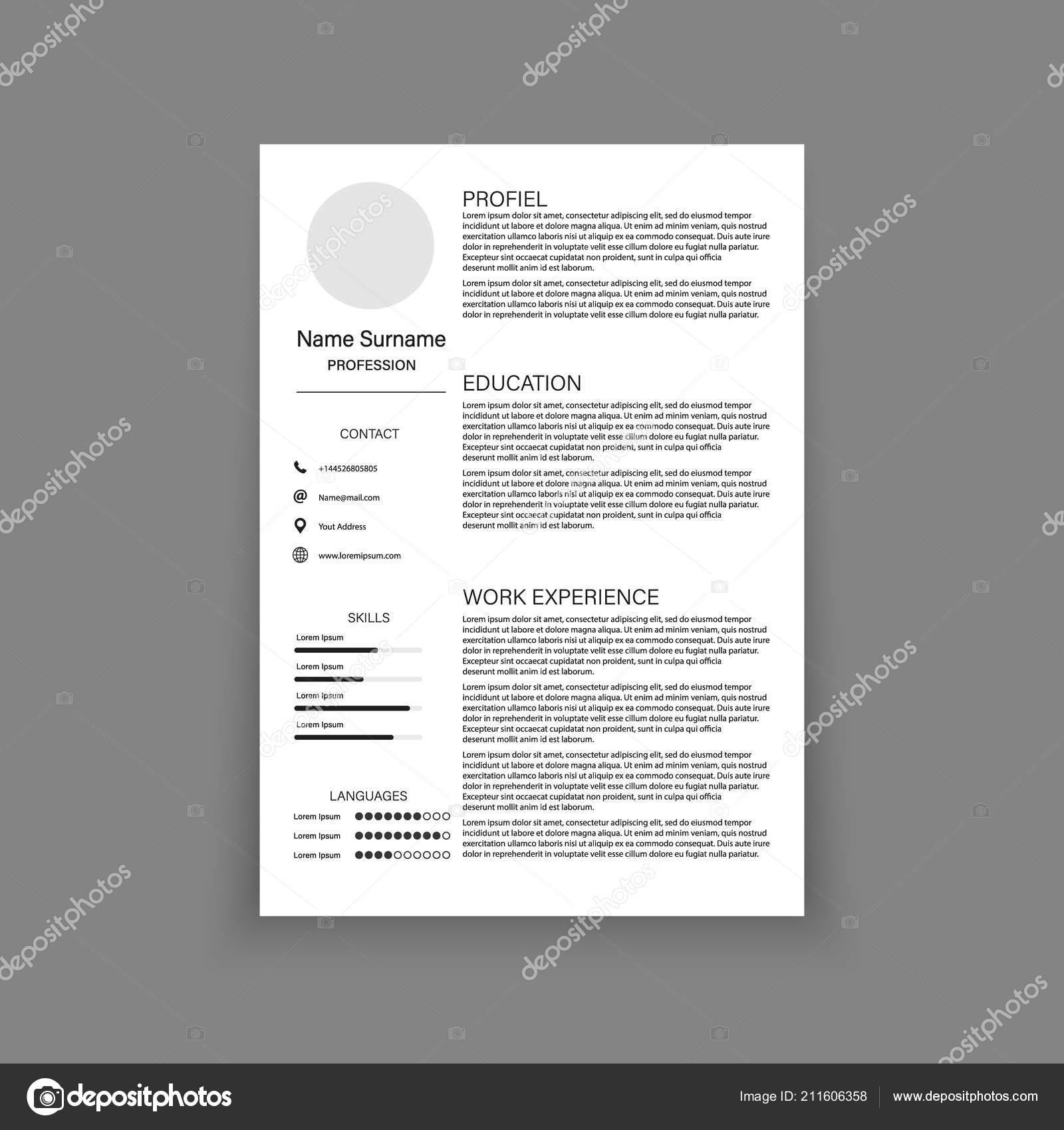 Cv Resume Template Design For A Creative Person Vector Illustration