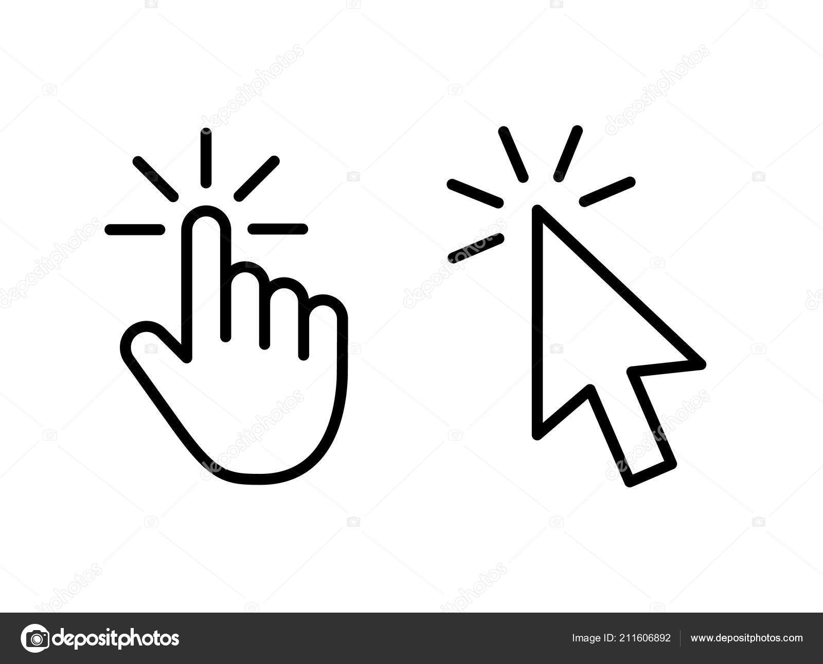 Computer Mouse Click Cursor Gray Arrow Icons Set And Loading Icons