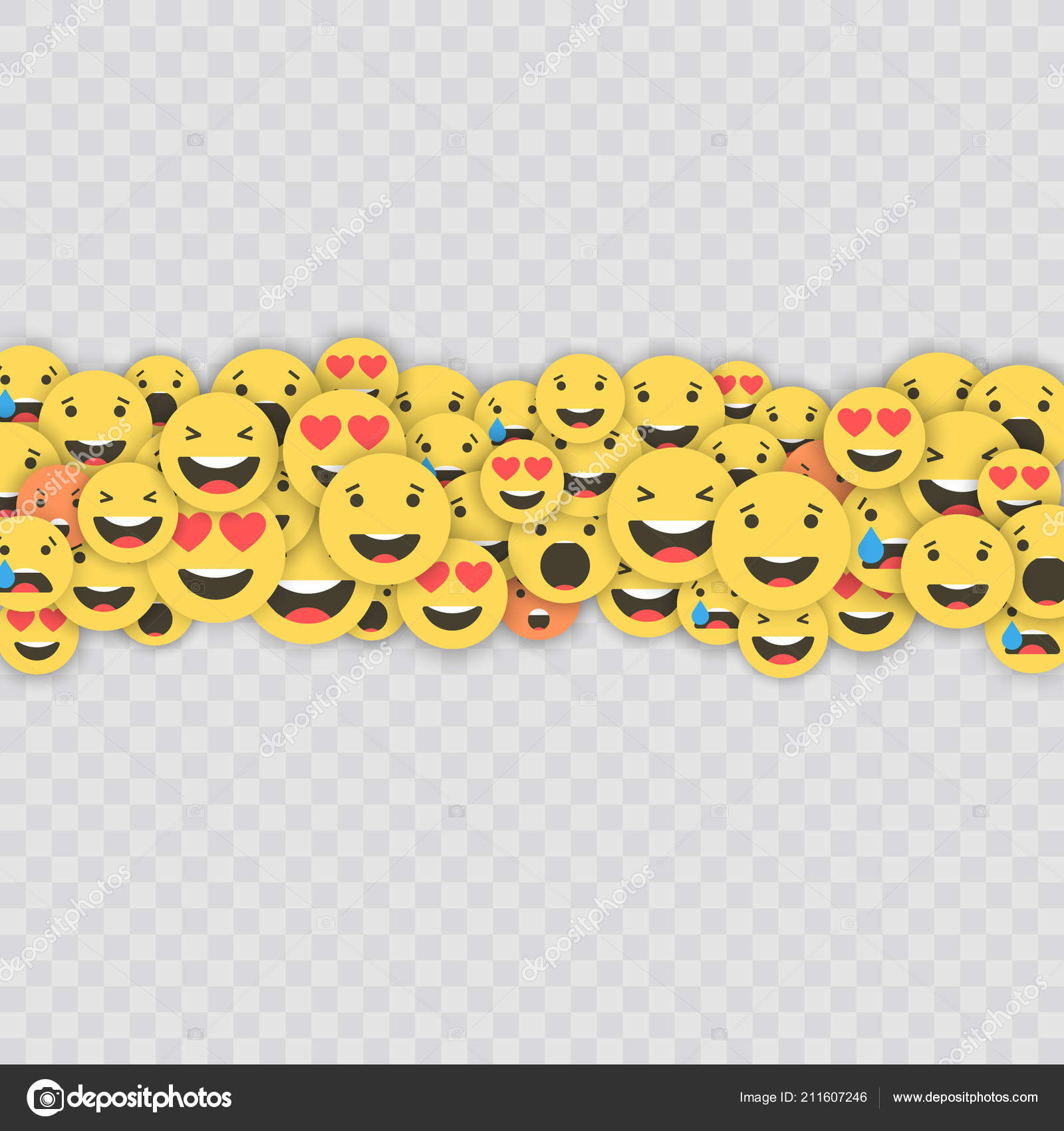 Set of emoji icons  Funny faces with different emotions  Emoji flat