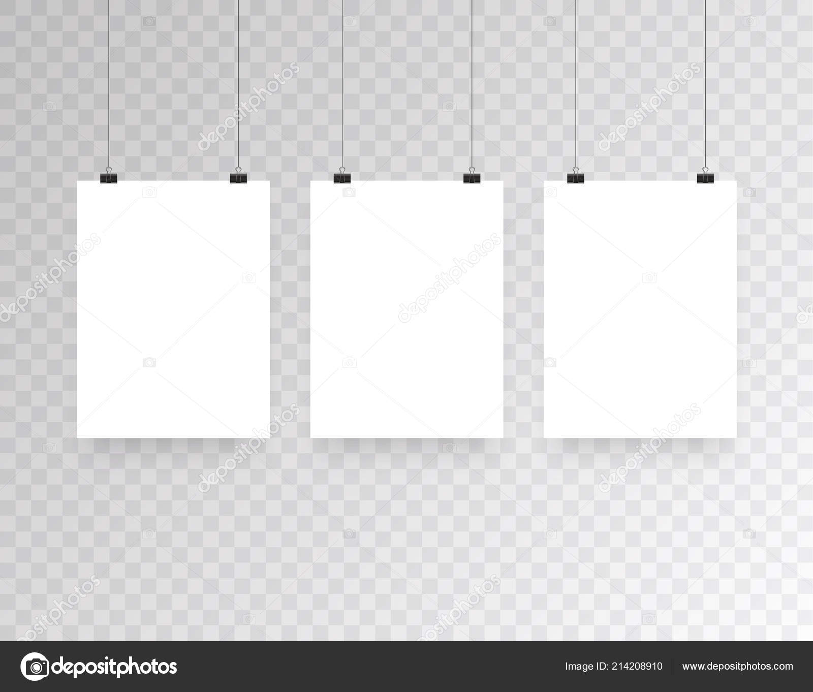 Blank Hanging Photo Frames Or Poster Templates Isolated On Transparent Background Photo Picture Hanging Frame Paper Gallery Portfolio Illustration Vector Stock Vector C Sergii19 I Ua 214208910