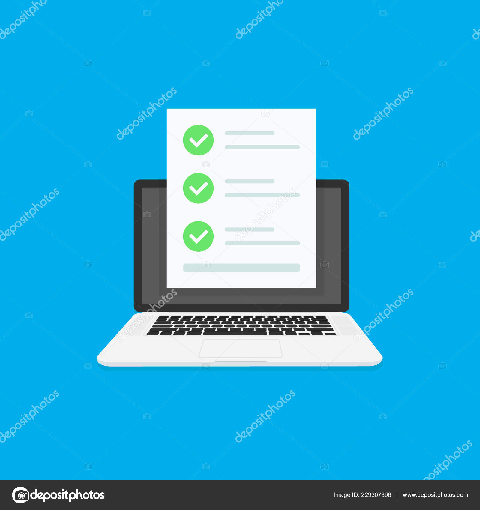 Online Exam Laptop With Checklist Taking Test Choosing Answer Questionnaire Form Education Concept Flat Cartoon Design Vector Illustration On Background Stock Vector C Sergii19 I Ua 229307396