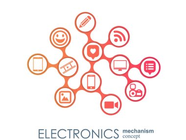 Electronics mechanism. Abstract background with connected gears and integrated flat icons. Connected symbols for monitor, phone. Vector interactive illustration.
