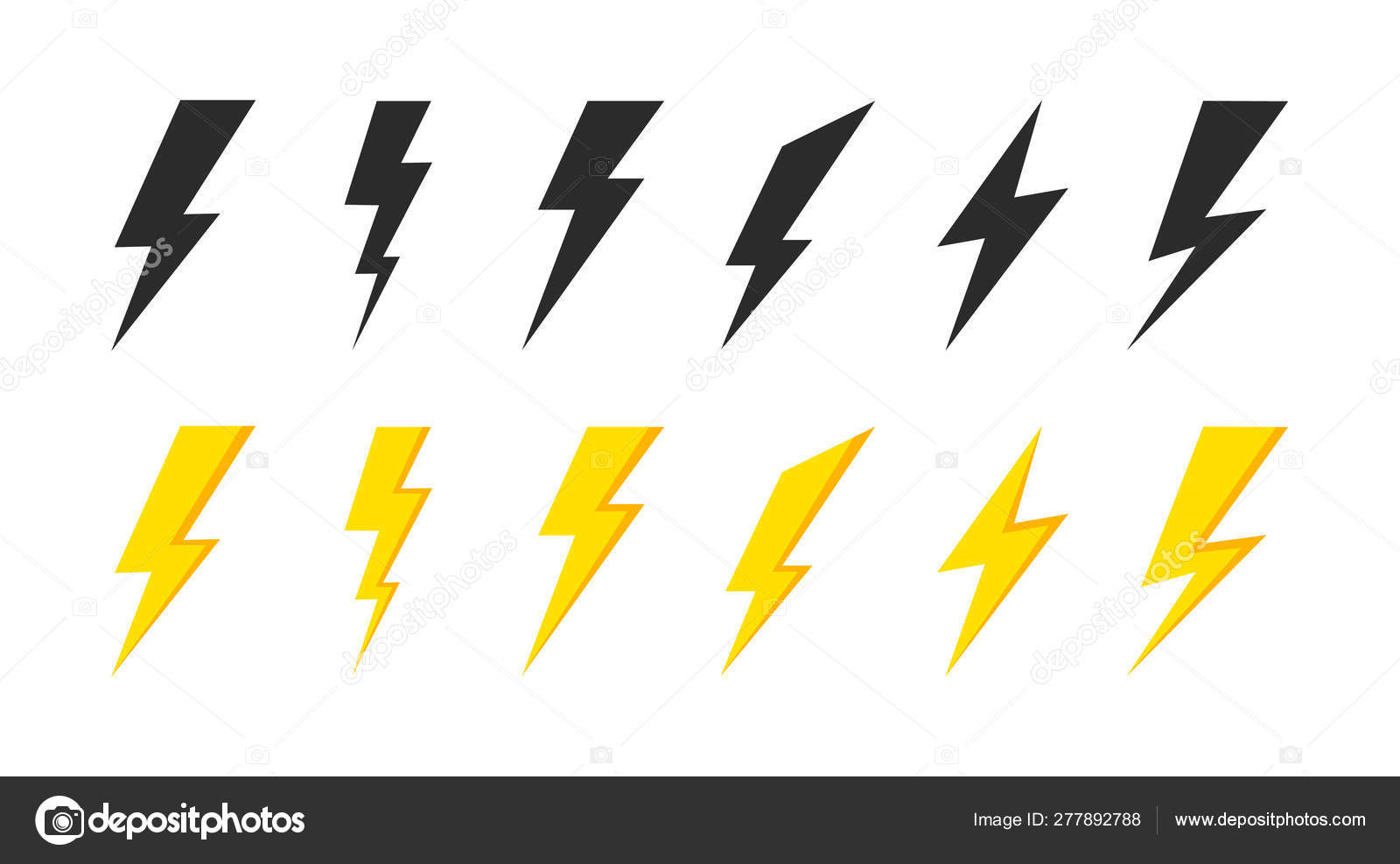 Lightning Icons Set Thunder And Bolt Flash Icon Lightning Bolt Black And Yellow Silhouette Vector Illustration Stock Vector C Sergii19 I Ua 277892788