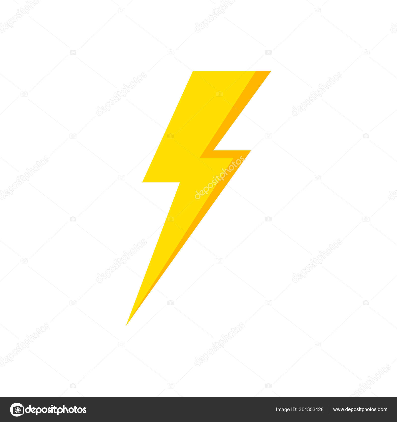 Lightning Icon Thunder And Bolt Flash Icon Lightning Bolt Black And Yellow Silhouette Vector Illustration Stock Vector C Sergii19 I Ua 301353428
