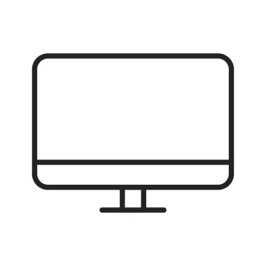 Device and technology web icons in line style. Computer monitor, smartphone, tablet and laptop. Vector illustration.
