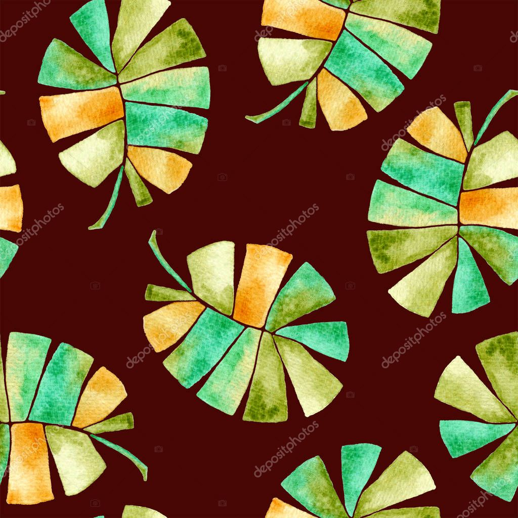 Tropical seamless pattern. Watercolor childish pal