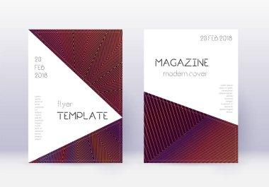 Triangle cover design template set. Orange abstrac