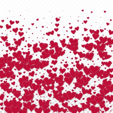 Red heart love confettis. Valentine's day gradient pleasant background. Falling stitched paper hearts confetti on transparent background. Cute vector illustration.