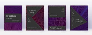 Black brochure design template set. Violet abstrac