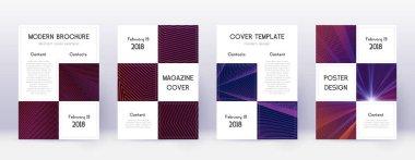Business brochure design template set. Violet abst