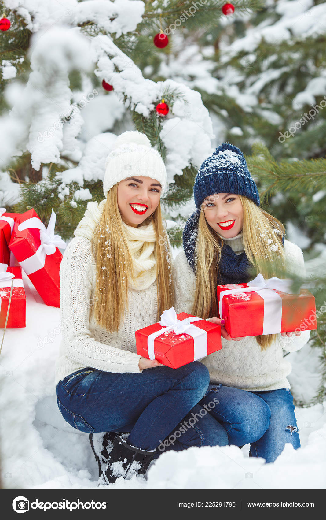 Christmas Presents For Women.Girlfriends Having Fun Christmas Presents Outdoors Women