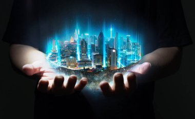 Unknown hand holding fantasy island floating in the air with network light came out from the ground , Smart city and wireless network connection concept .