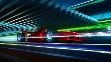 Side view fast moving motion blur red race car and driver with light trail effect  ,3d rendering .