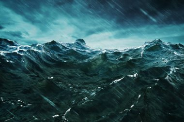 3D rendering Ocean wave with storm . Closeup view .