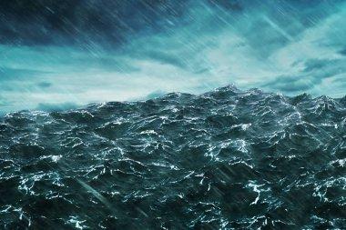 3D rendering Ocean wave with storm .