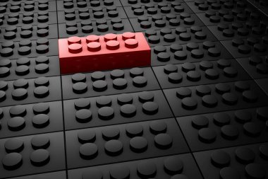 3D rendering red toy bricks standing out from crowd of black toy bricks .  Leadership, independence, initiative, strategy, dissent, think different, uniqueness ,business success concept .