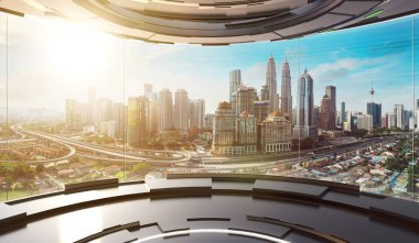 Futuristic interior design empty space room with large windows and city urban landscape . 3d illustration rendering . Mixed media