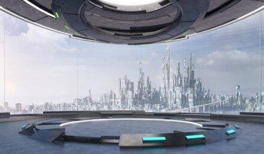 Futuristic interior design empty space room with large windows and futuristic city urban landscape . 3d illustration rendering .