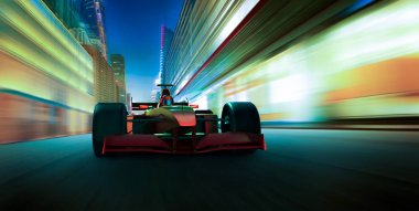Sport racing car fast driving to achieve the champion dreame , motion blur effect apply . 3D rendering and mixed media composition .