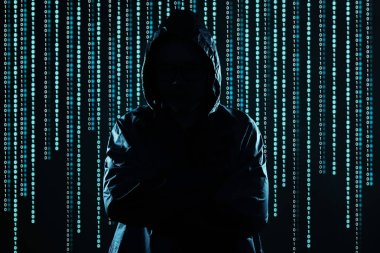Unrecognizable hacker portrait, security and technology crime concept