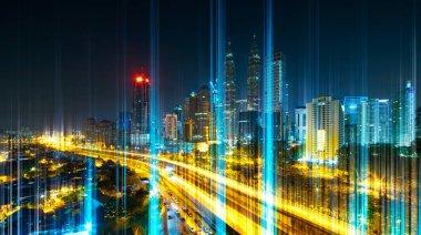 """Картина, постер, плакат, фотообои """"Индикатор сети вышли из земли, современный город с беспроводной сети связи концепции, абстрактные коммуникационных технологий изображения визуального"""", артикул 222766972"""