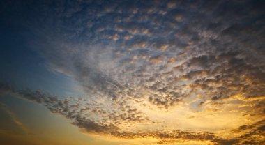 Beautiful panorama natural sunset or sunrise  and amazing orange cloud blue sky above it .