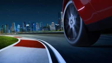 Low angle side view of car driving fast at night with motion speed effect