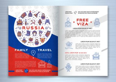Russian travel brochure template. Colorful russian icons on a flag background. Traditional line symbols
