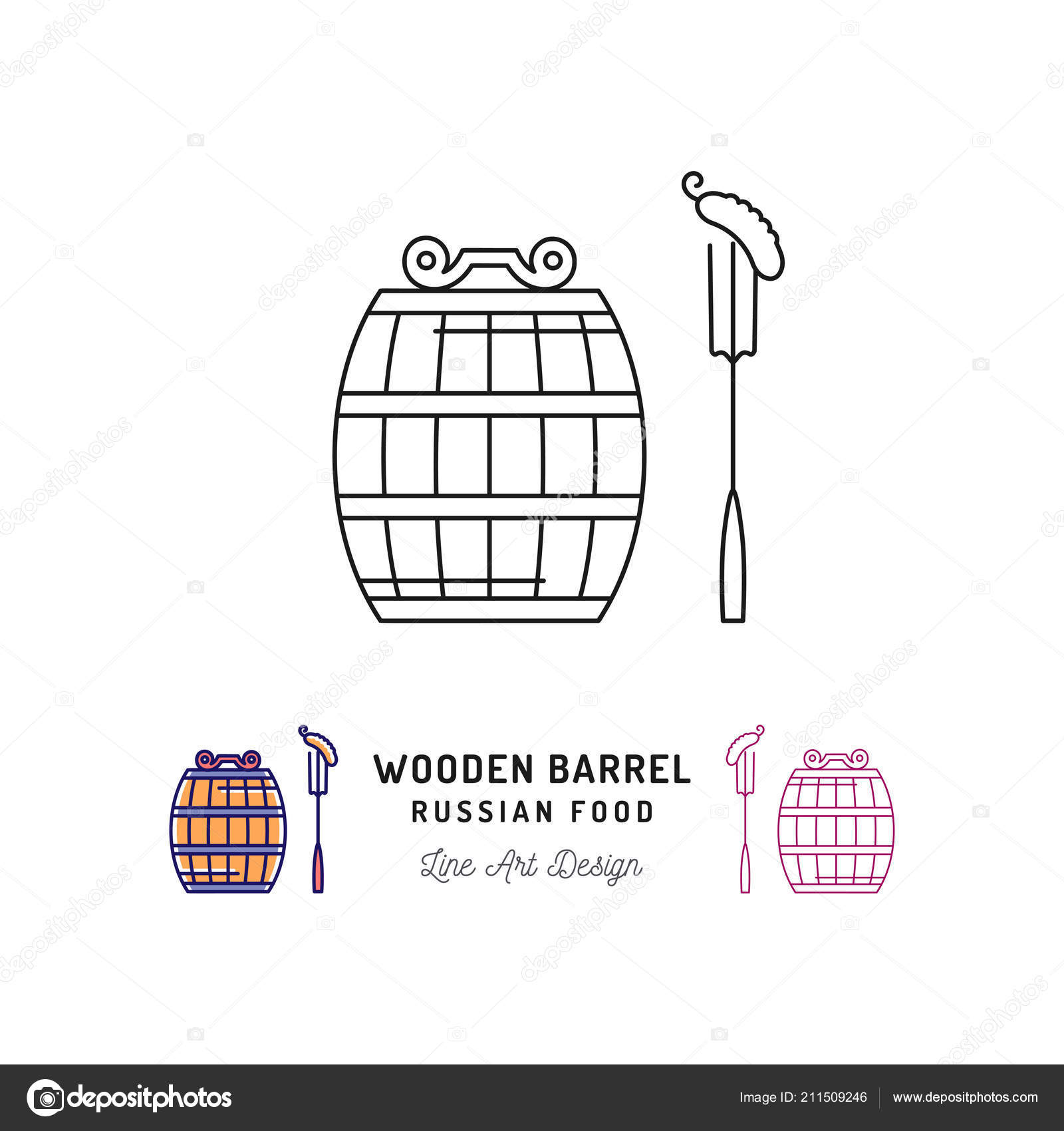 Vector Wooden Barrel Icon Russian Food And Drink Traveling In