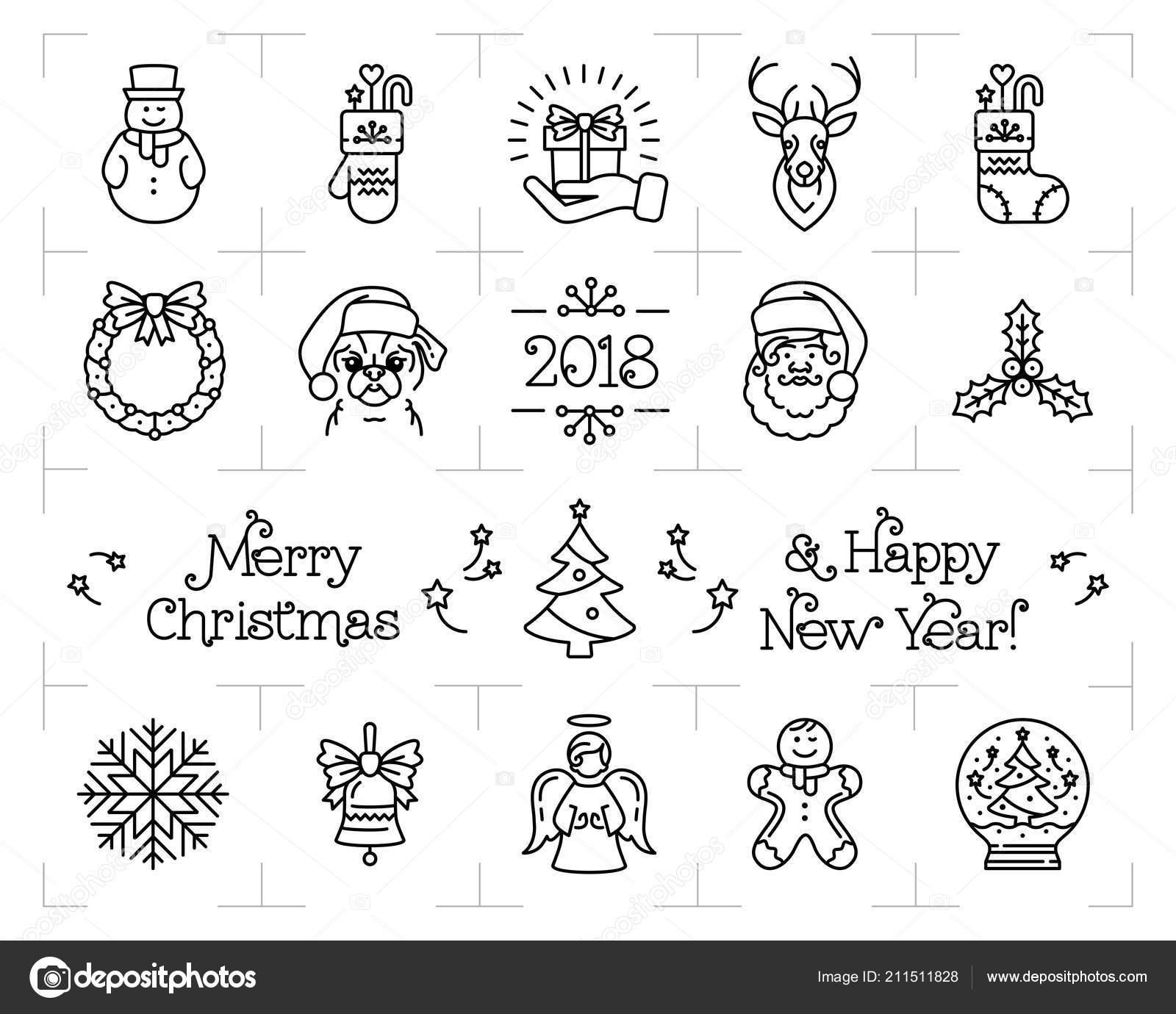 Christmas Icons Set Holiday Symbols New Year Icons Chinese Zodiac