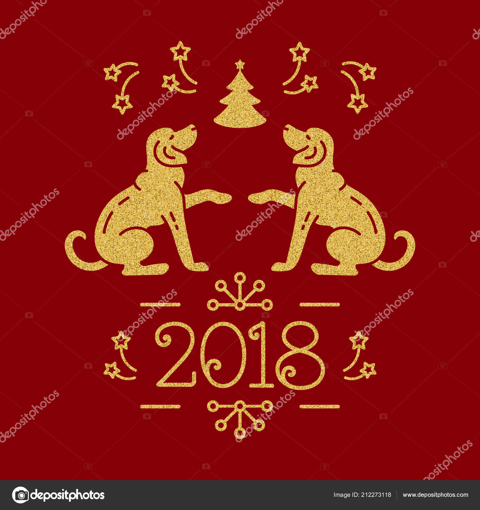 christmas card happy new year 2018 golden dogs christmas tree fireworks on a red background vector flat illustration vector by decobrush