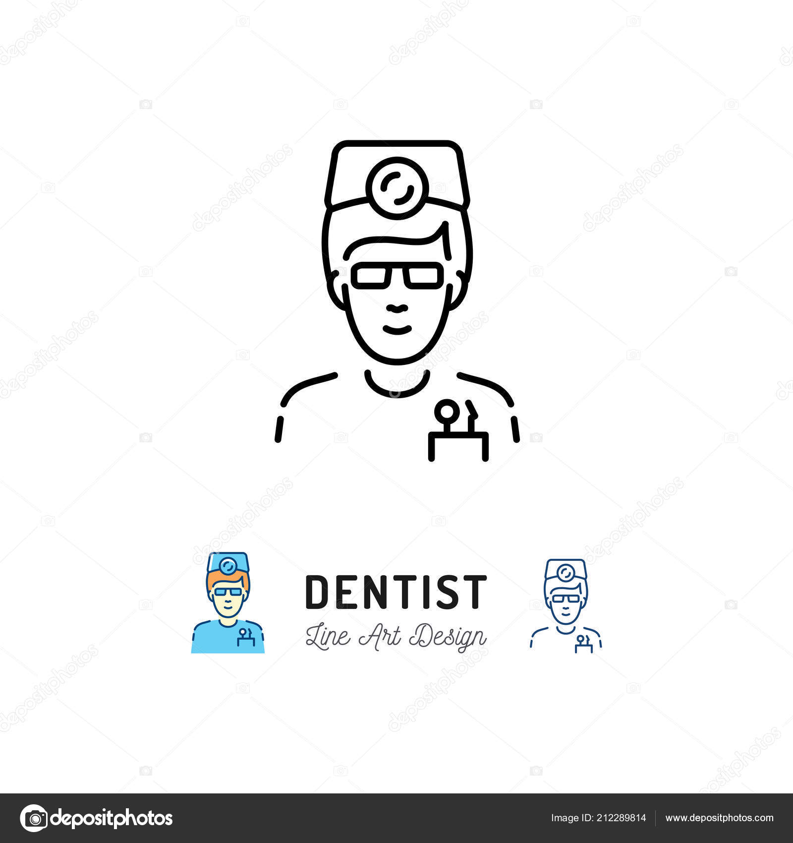 Dentist Icon Dental Surgeon Doctor Therapist Logo Dental Care And Stomatology Thin Line Art Icons Vector Illustration Stock Vector C Decobrush 212289814