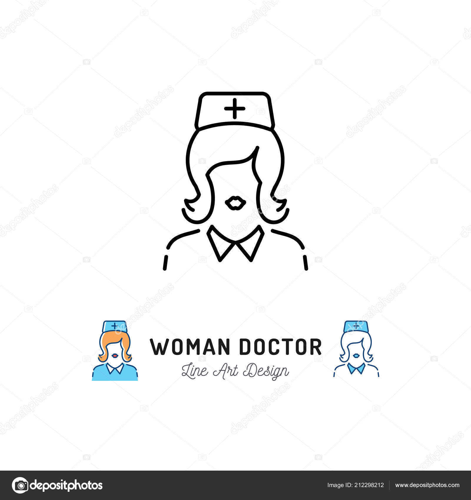 Woman Doctor Icon Medical Staff Nurse Icons Thin Line Art Symbol