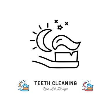 Brushing Teeth Night, Toothbrush with toothpaste icon of the moon and stars. Dental care thin line icons, Vector illustration