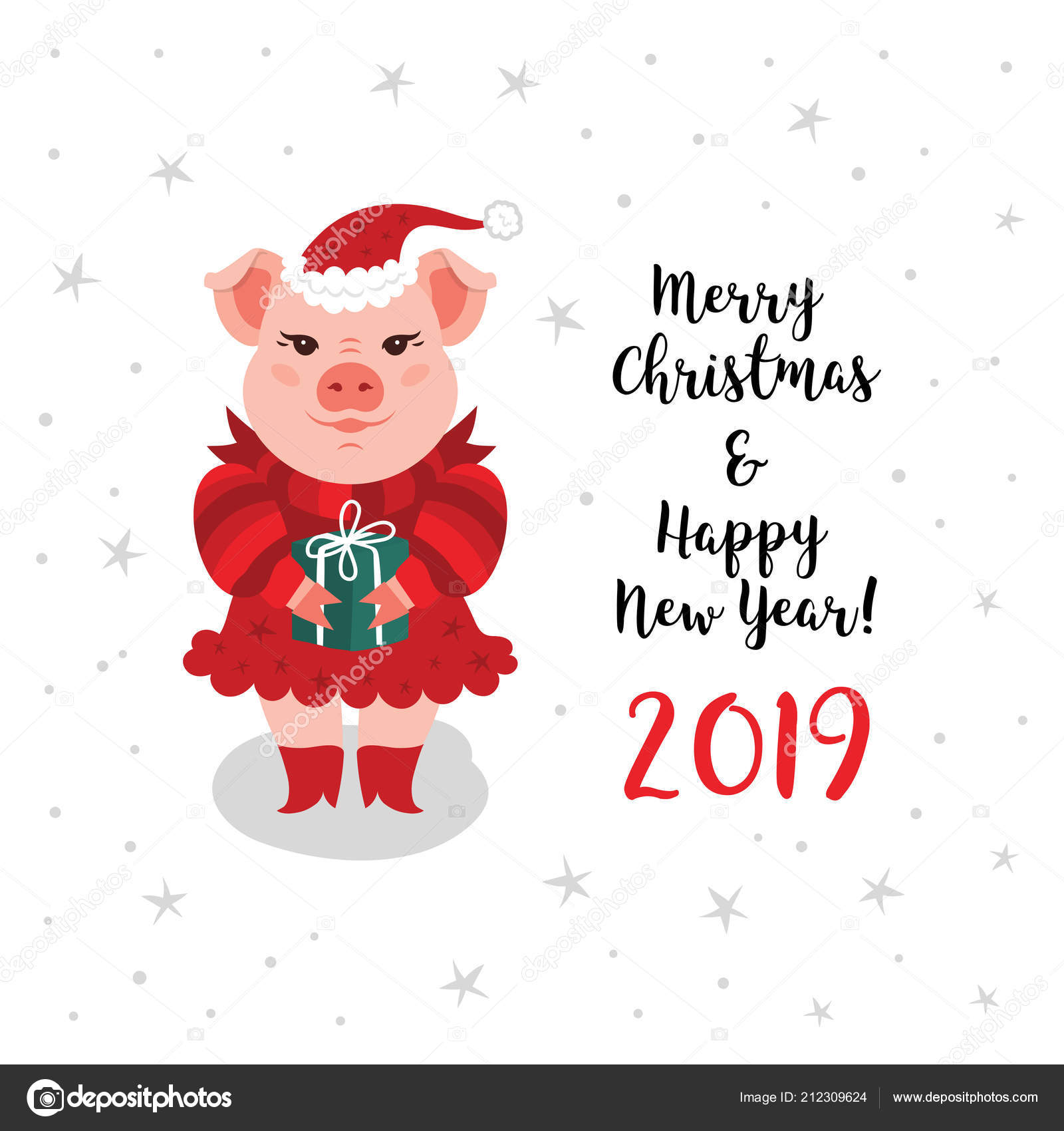 Christmas pig greeting card, Merry Christmas Happy New Year 2019 ...